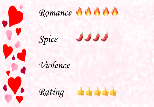A description of the book ratings on a pink background with a border of love hearts. 5 flames for romance, 4 chilis for spice, no violence and 5 thumbs up overall.
