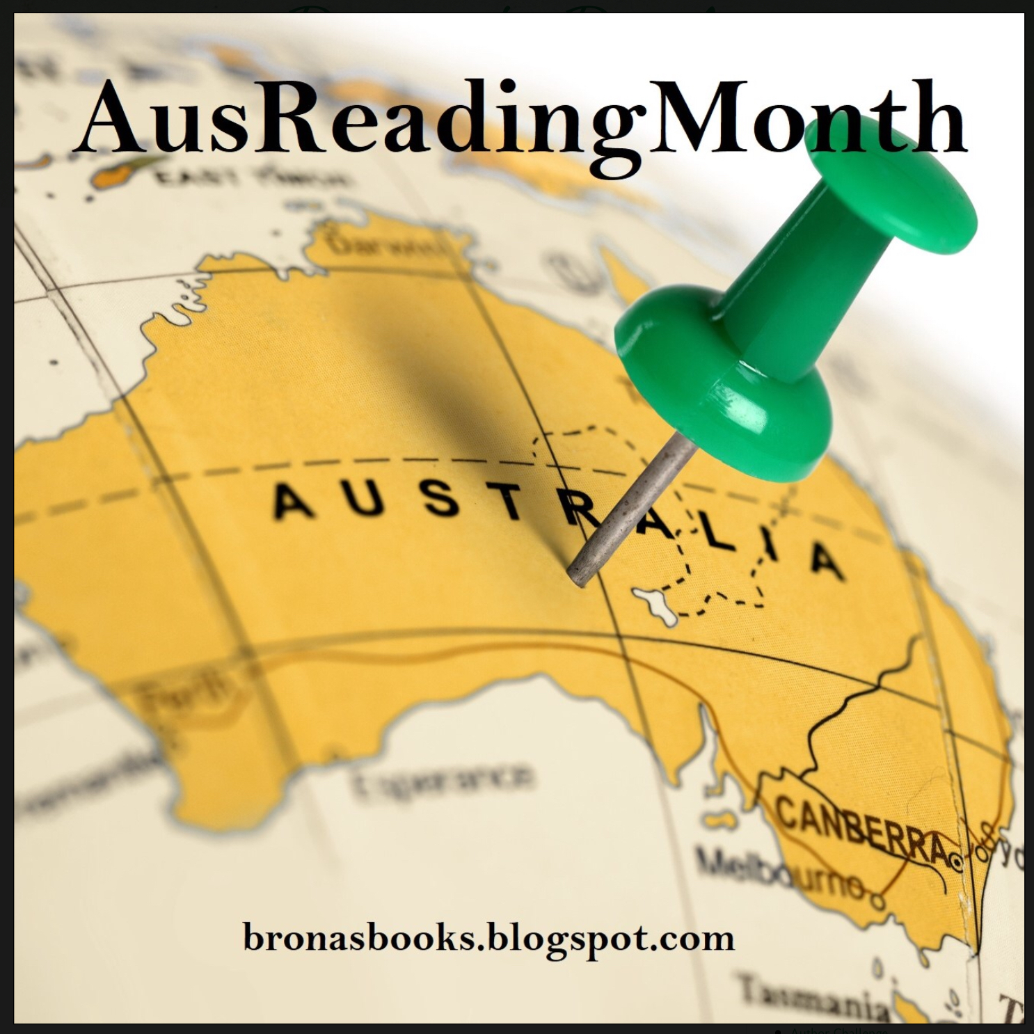 Map of Australia with a push pin in it, to recognise AusReading Month