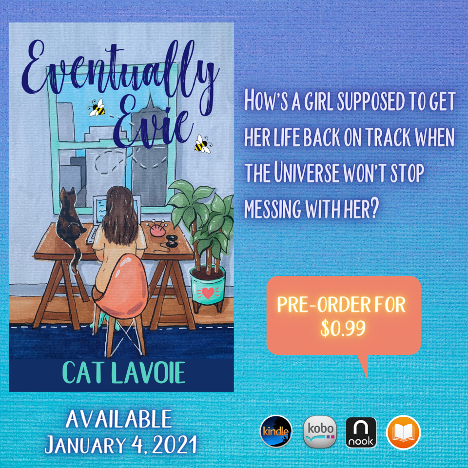Eventually Evie book cover featuring a woman sitting beside her cat, viewed from behind.