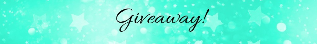 Mint green background with stars on it, with the word 'Giveaway' written in decorative font on it.