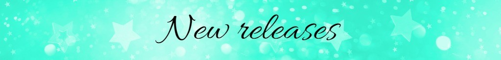 Banner saying 'new releases' on mint green background with decorative glitter stars