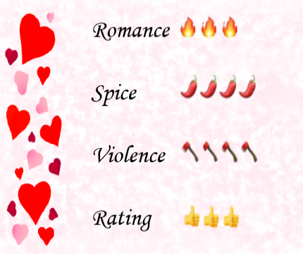 Pink speckled background with a hearts border to the left, along with ratings images of 3 flames for romance, 4 chilis for spice, 4 hatchets for violence and 3 thumbs up overall rating
