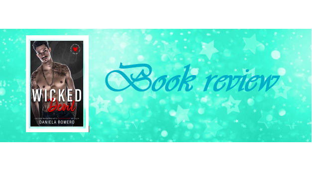 Banner image with mint green background and glitter stars, with the words 'book review' to the right and the cover image of Wicked Devil to the left